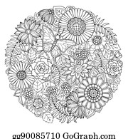 Circle Summer Doodle Flower Ornament With Butterfly Hand Drawn Art Floral Mandala Black And