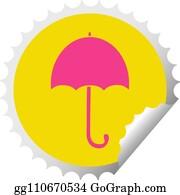 f389797b4 circular peeling sticker cartoon of a open umbrella