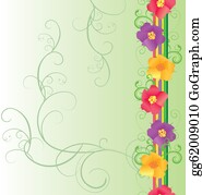 Colorful Flowers Border On Green Background Spring Nature Vector