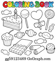 Clip Art Vector Coloring Book With Swimming Kids Stock Eps