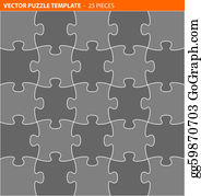 vector stock 30 jigsaw puzzle blank template stock clip art