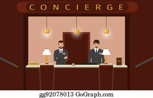 Front View Of Hotel Concierge Counter With Two Employee Desk Service