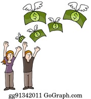 People Wasting Money Clip Art - Royalty Free - GoGraph