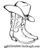 23b60219f7f3 Cowboy boots and hat. Vector graphic illustration isolated