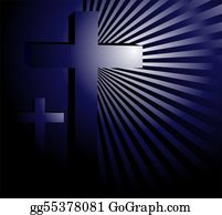 Drawing - Light radiates from bible under cross  Clipart Drawing