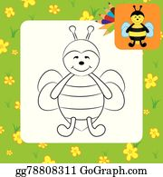 Cartoon Bee Coloring Page Clip Art Royalty Free Gograph