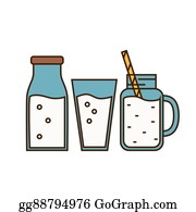 Vector Stock - Dairy products on wooden table, milk, vector