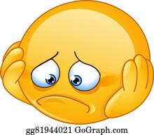Vector Clipart Really Sad Upset Emoticon Vector Illustration