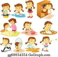 Children Doing Different Chores Illustration Royalty Free Cliparts,  Vectors, And Stock Illustration. Image 52044791.