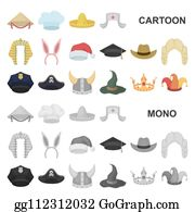 ae84a907d6950 Different kinds of hats cartoon icons in set collection for design. Headdress  bitmap symbol stock