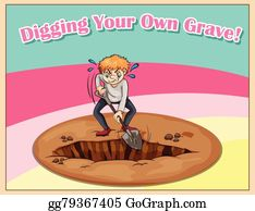 Cemetery digged grave hole. vector burial graves ground with gravestone  with skull and gravedigger shovel, headstone monument