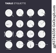 Vector Art - Cutlery etiquette  table etiquette  set of eating