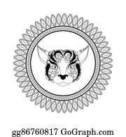 Dog Tribal Dog Tattoo Cartoon - Royalty Free - GoGraph