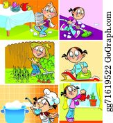 Tiny Kids Do Chores Clipart Collection by Teachers Resources | TpT
