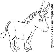 Black And White Mule Clip Art - Royalty