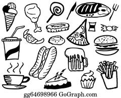 Junk Food Explosion Doodle Background
