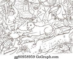 Vektor Clipart Ausmalbilder Zoo Zeichen Mit Tiere