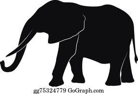 Elephant Silhouette Clip Art - Royalty Free - GoGraph
