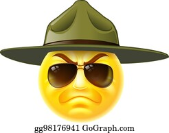Vector Stock Cartoon Angry Army Drill Sergeant Shouting