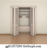 3d Render Empty Room Interior And Closet Illustration