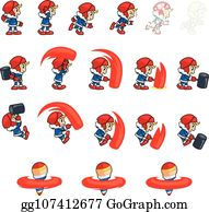 EPS Illustration - Thief boy game sprites  Vector Clipart