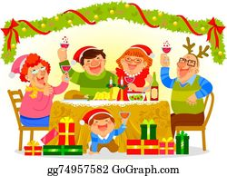Christmas Dinner Clip Art - Royalty Free - GoGraph