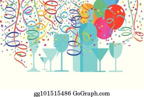 Eps Vector Confetti And Streamers Stock Clipart Illustration