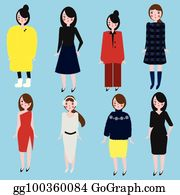 eda8c24d1c Fashionable girls set. Women in different dress code. Female in winter and  office clothes