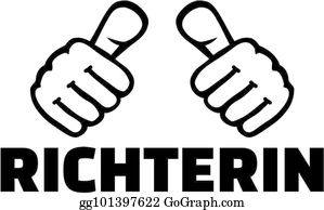 vector art female social worker with thumbs german word clipart