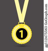 Medal First Clip Art - Royalty Free - GoGraph