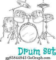Vector Stock Huge 10 Piece Rock Drum Set Musical Instrument