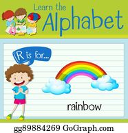 vector art flashcard letter r is for rainbow eps clipart
