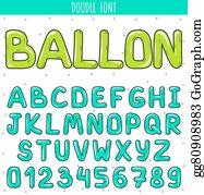 Clip Art Vector - Font ballon  set volume letters, numbers