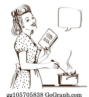 50S Hausfrau Clipart - Lizenzfrei - GoGraph