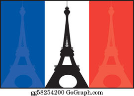 Paris Eiffel Tower Icon French Flag And