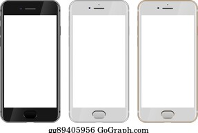 vector art 3d mobile phone template with blank white screen