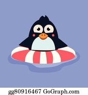 Swimming Penguin Abstract Clip Art