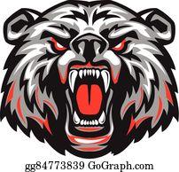Vector Art - Funny aggressive cartoon brown grizzly bear ...