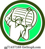 Garbage Collector Carrying Bin Circle Retro
