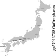 Vector Art Drawing Map Of Japan And Tokyo Clipart Drawing - Japan map drawing