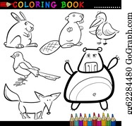 Vector Stock Magpie for coloring book Clipart Illustration