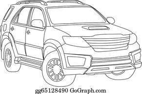 Vector Stock Outline Off Road Suv Car Body Style Illustration