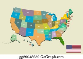 Clip Art Vector Colorful Usa Map With States And Capital Cities - Usa map cities