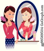 Vector Clipart of a Friendly Girl Brushing Her Hair by Prawny - #475