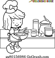 Vector Art - Grandmother and children cooking in the kitchen ...