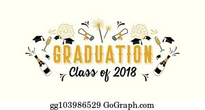 Vector Clipart Graduation Party Vector Template Invitation To The