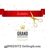 vector stock grand opening design template with ribbon and