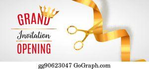 Vector Illustration Grand Opening Invitation Banner Golden Ribbon