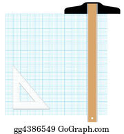 stock illustrations graph paper drafting tools draw stock clipart
