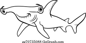 vector illustration hammerhead shark cartoon illustration eps
